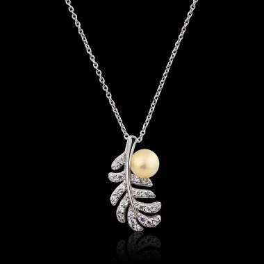 Plume Gold Pearl Pendant