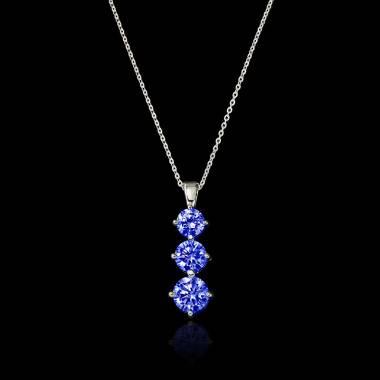 Trilogy Blue Sapphire Pendant