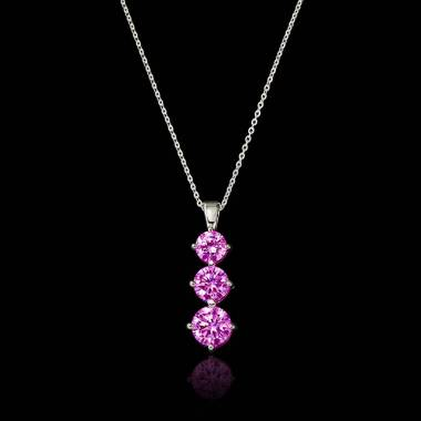 Trilogy Pink Sapphire Pendant