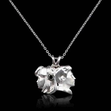Gemini black diamond pendant