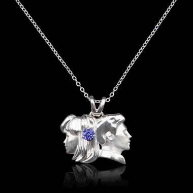Gémeaux Blue Sapphire Pendant