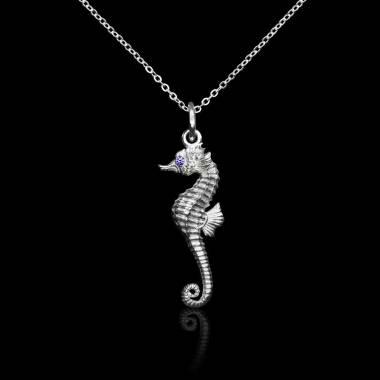 Seahorse Blue Sapphire Pendant