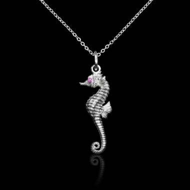 Seahorse pink sapphire pendant