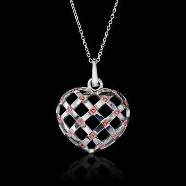 Intertwined Heart Ruby Pendant