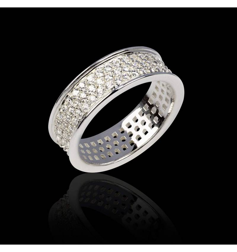 Diamond Wedding Band White Gold Mars