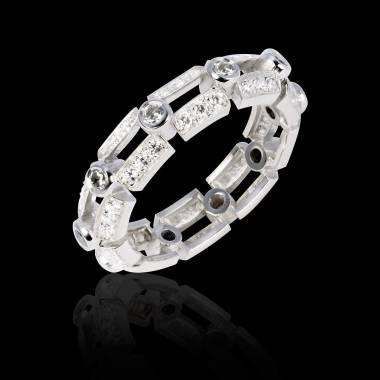 White Gold Wedding Band Diamond Paving Terre