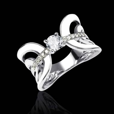Diamond Engagement Ring White Gold Laque Corset