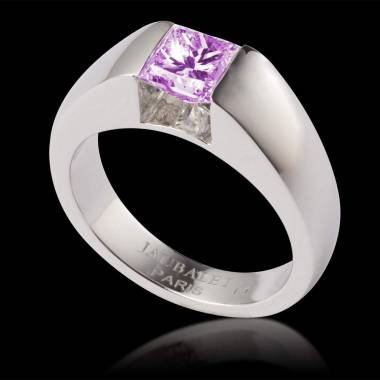 Pink sapphire engagement ring white gold Pyramide