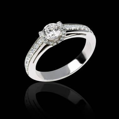 Diamond engagement ring diamond paving white gold Hera