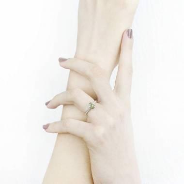 Diamond Engagement Ring White Gold Moon