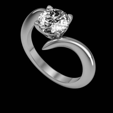 Diamond Engagement Ring White Gold Serpentine