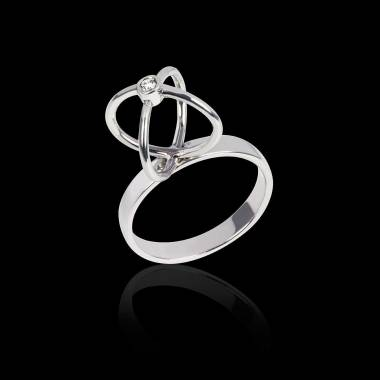 Diamond Engagement Ring White Gold Cage