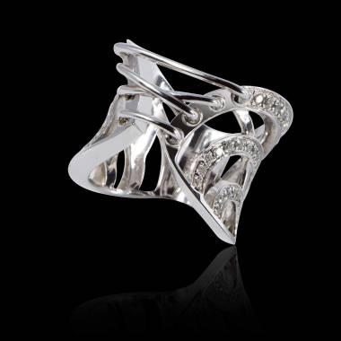 Engagement Ring Diamond Paving White Gold Guêpière