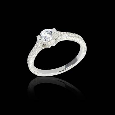 Diamond engagement ring diamond paving white gold Mount Olympus