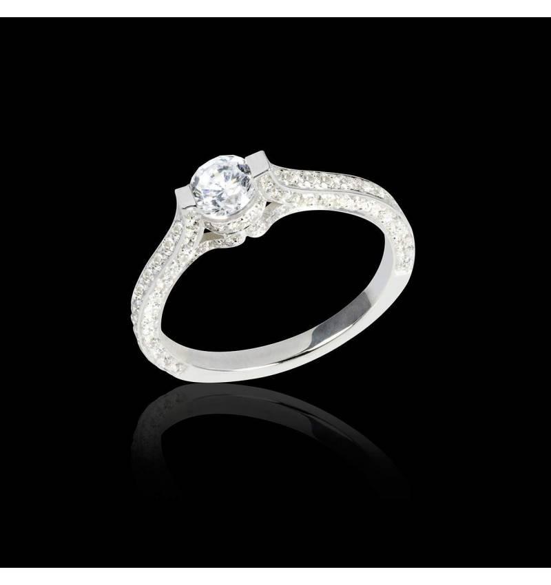 Diamond engagement ring diamond paving white gold Mount Olympus