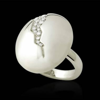 Engagement Ring Diamond Paving White Gold Quake