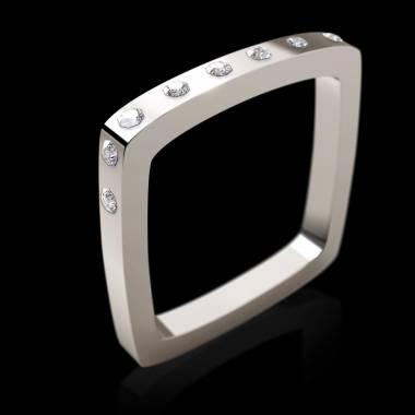 Engagement Ring Diamond Paving White Gold Square