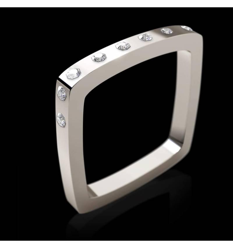 Engagement Ring Diamond Paving White Gold Square