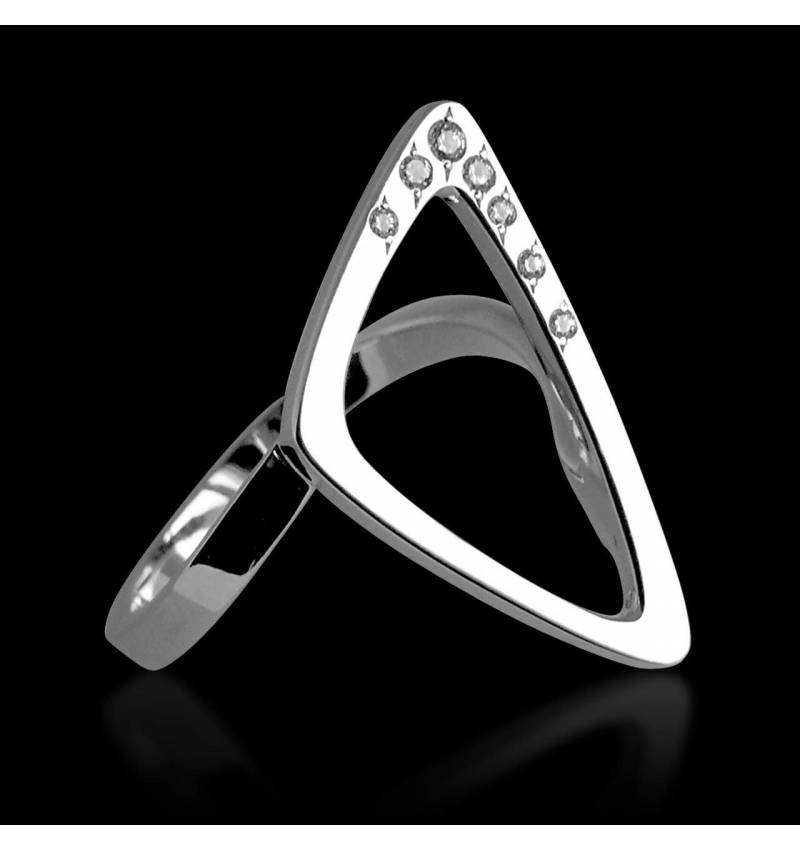 Engagement Ring Diamond Paving White Gold Triangle